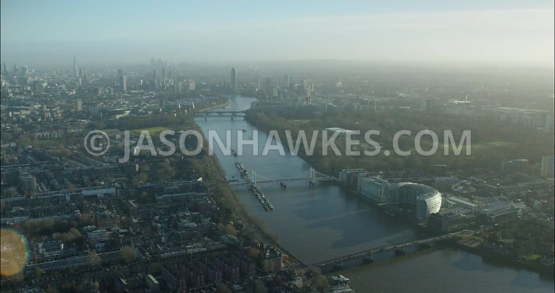 London Aerial footage, River Thames at Battersea Bridge towards Battersea Park.