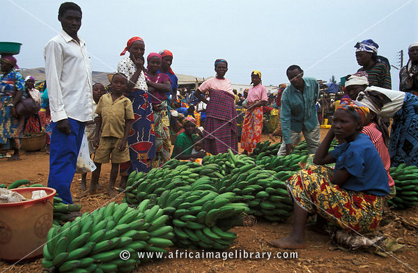 Bananas for sale at the market, Nyakabuye, Rwanda