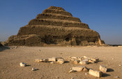 Djoser's step pyramid dominates the necropolis of Saqqara, Egypt