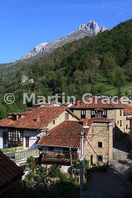 Espinama, Cantabria, Spain - a small village within the Picos de Europa National Park - with limestone mountains behind