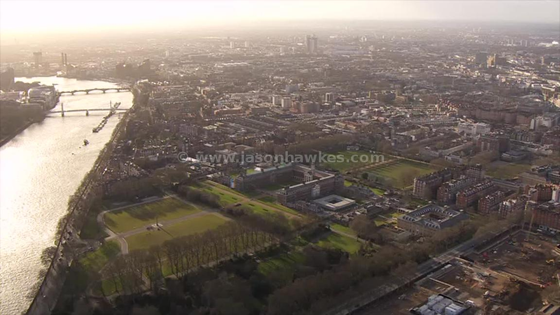 Aerial footage of Chelsea, London