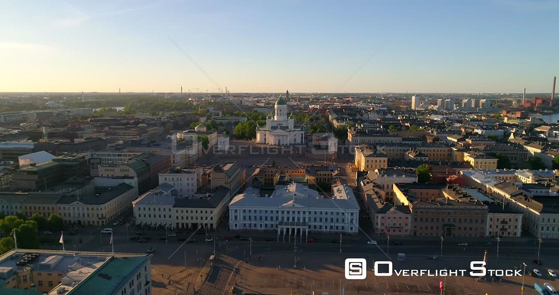Helsinki Cityscape, Aerial Descending Tilt View of the Helsinki Cathedral and the City, on a Sunny Summer Evening Dusk, in He...