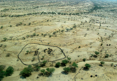 Aerial view of homestead enclosures, Lokichar, Kenya, March 2012