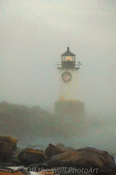 Winter fog on Winter Island Light,