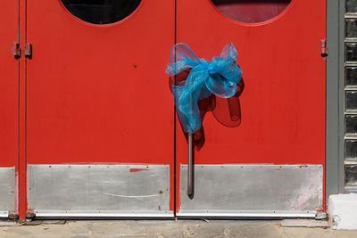 Blue Bow on a  Red Door