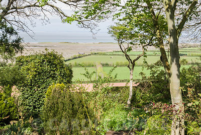 Views of the sea and fields are constantly glimpsed through trees and shrubs. Greencombe Garden, Porlock, Somerset, UK