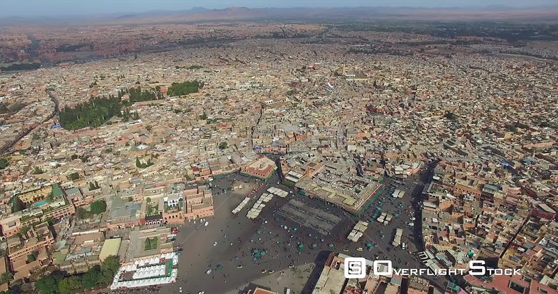Jamaa ElFna Square Marrakesh Morocco Drone Footage