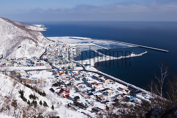 Japan, Hokkaido, Shiretoko Peninsula, Rausu, cityscape, elevated view