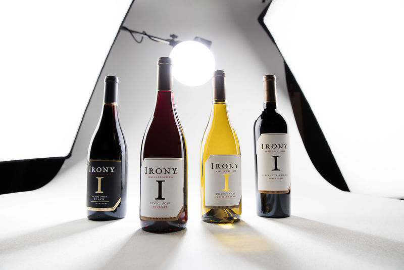 Dynamic and creative commercial wine bottle photography by Jason Tinacci