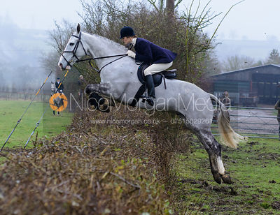 Lydia Cope jumping a hedge at Town Park Farm