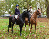 Bruce McKim, Sophie Judge at the meet. The Cottesmore Hunt at Somerby