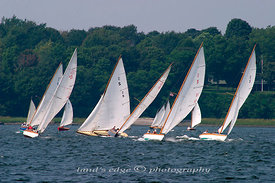 The S-boat class approaches start 1 n front of Popasquash Point at the annual Herreshoff rendezvous, 2004.
