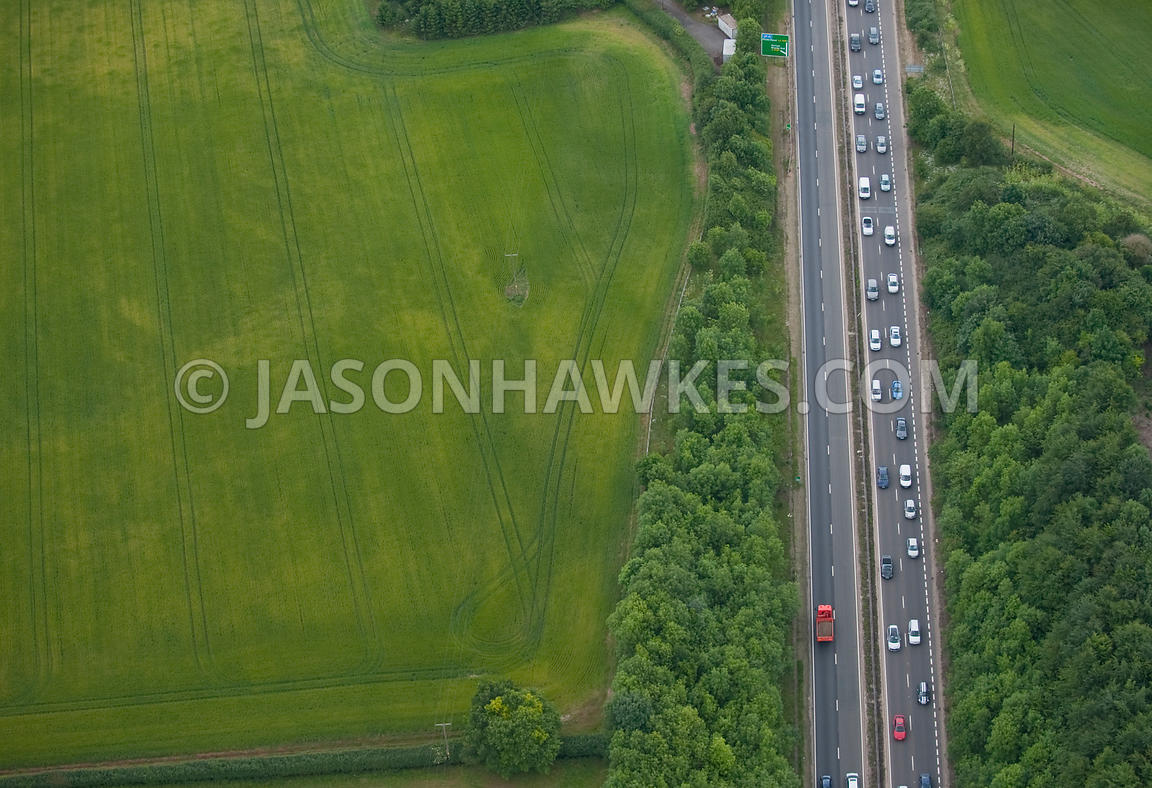 Aerial view of traffic on motorway on dual carriageway.