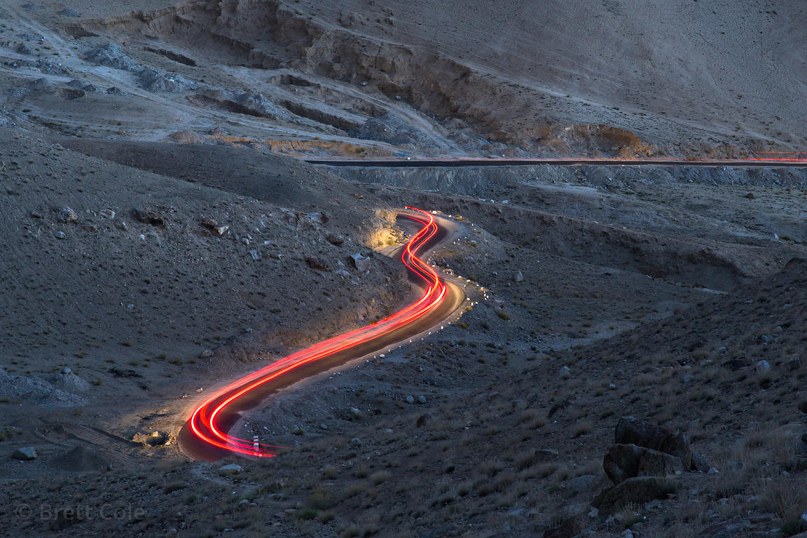 30-second exposure showing lights from a truck going down Khardung La, Leh, Ladakh, India