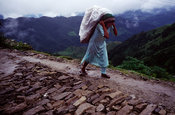 A peasant woman on her way to market, Dolakha region, Nepal