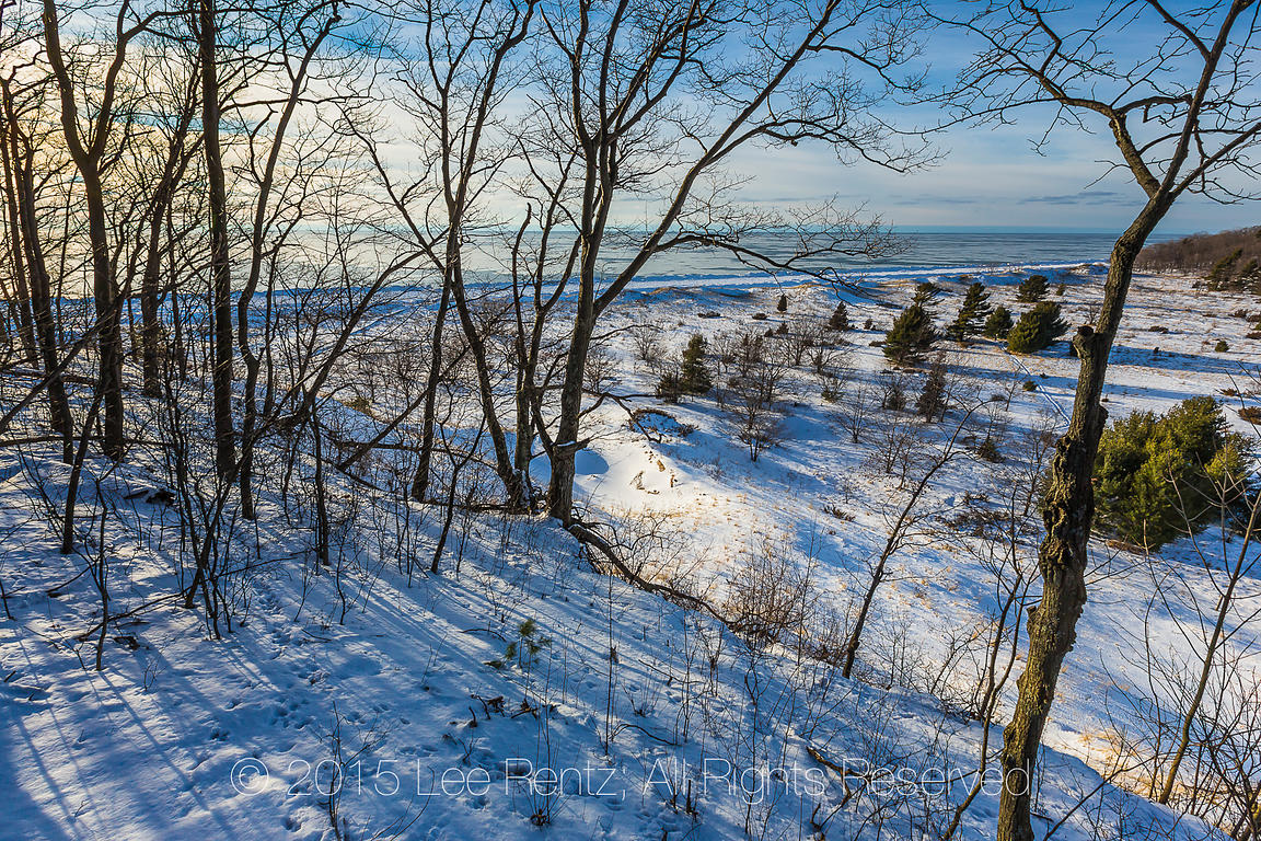 View from Sand Dunes Down to Beach in Rosy Mound Natural Area along Lake Michigan