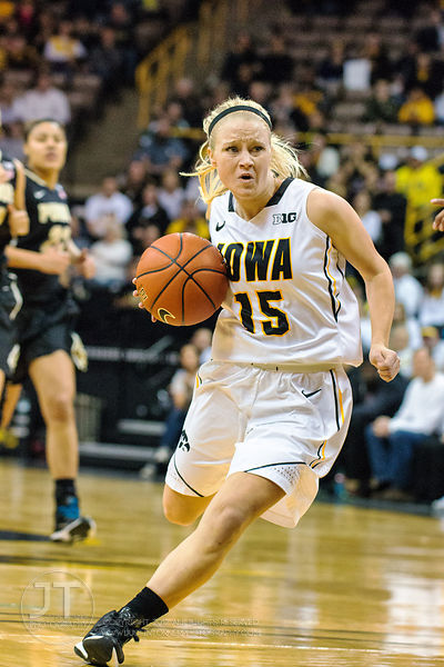 Iowa's Whitney Jennings (15) drives to the basket versus Purdue during the first half of play at Carver-Hawkeye Arena in Iowa...