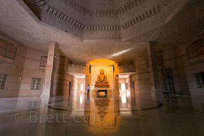 22 foot tall statue of Lord Mahavira in the main chamber of the Nareli Jain temple, Ajmer, Rajasthan, India. The room is amaz...