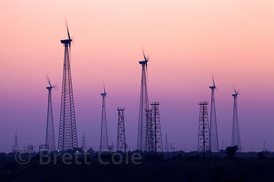 Sunset behind windmills in the Thar Desert near Jaisalmer, Rajasthan, India