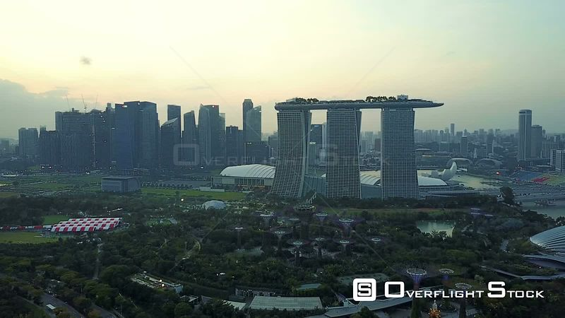 Marina Bay Sands Hotel Resort Singapore Drone Video
