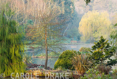 View down over descending ponds surrounded by mature trees and shrubs. Marwood Hill Gardens, Barnstaple, Devon, UK