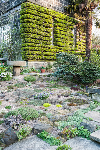 The Paved Garden features a small rockery, stone troughs, a greenhouse bursting with cacti and succulents, all framed by a sm...