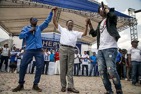 Hery RAJAONARIMAMPIANINA, outgoing president and presidential candidate, in Antananarivo, on November 4, 2018, during his ral...