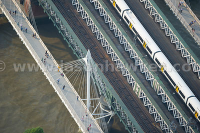 Aerial view of Hungerford Bridge, River Thames, London