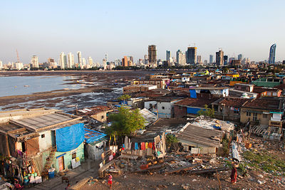 Wide view of a slum area in Worli, Mumbai, India.