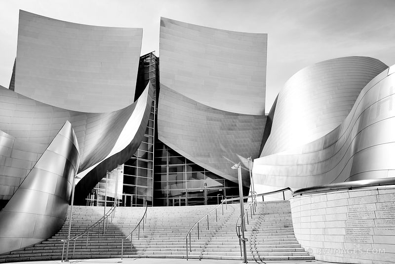 WALT DISNEY CONCERT HALL CONTEMPORARY ARCHITECTURE LOS ANGELES BLACK AND WHITE