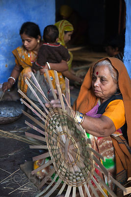 Three generations of basket makers in Jodhpur, Rajasthan, India