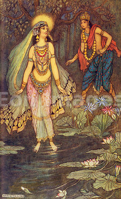 Shantanu meets the Goddess Ganga by Warwick Goble