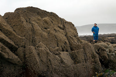UK - Pembroke - Jonathan Williams, owner of the award winning Cafe Mor that promotes cooking with seaweed, stands amongst the...