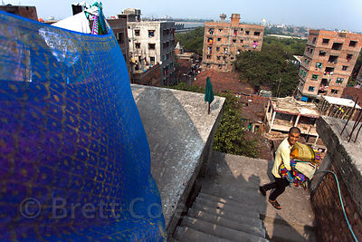 Rooftop view of apartment buildings in Howrah, sister city to Kolkata, India.