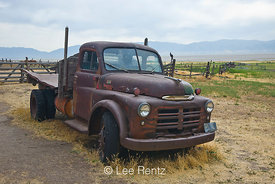 Old Dodge, circa 1948, 1 or 1.5 ton stake truck, at Fielding Garr Ranch, Antelope Island State Park in the Great Salt Lake, U...
