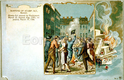 Bostonians burn Stamp Act