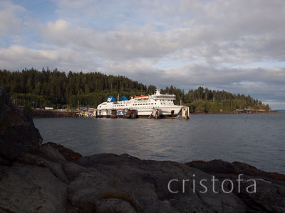 BC ferry docked at Skidegate Landing