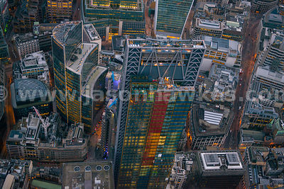 Aerial view of the Leadenhall Building and Willis Building, London