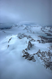 Aerial view of snow covered mountains, South Georgia, Antarctica, December 2006