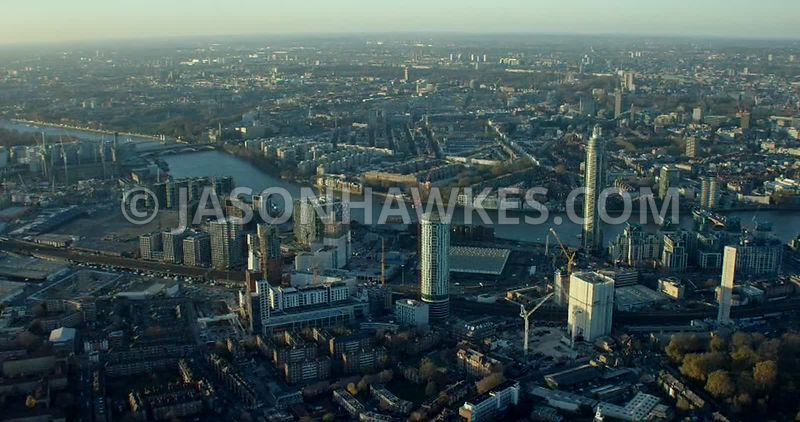 Aerial footage of Nine Elms, London