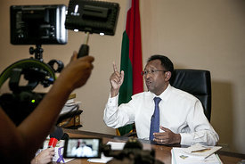 Hery Rajaonarimampianina, President of the Republic of Madagascar, answers questions from journalists at the Iavoloha presidential palace in Antananarivo on 29 April 2018, after a week of popular protest led by 73 opposition MPs calling for his resignation.