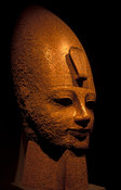 Colossal head of Amenhoteb III in red granite, from the New Kingdom, Dyn.XVIII, Luxor Museum, Luxor, Egypt