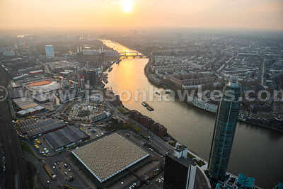 Aerial view of Nine Elms at dusk, London