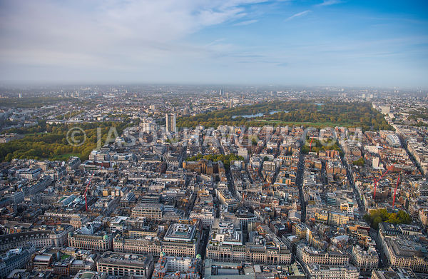 Aerial overview of London, Regent Street with Hanover Square, Grosvenor Square and Berkeley Square.