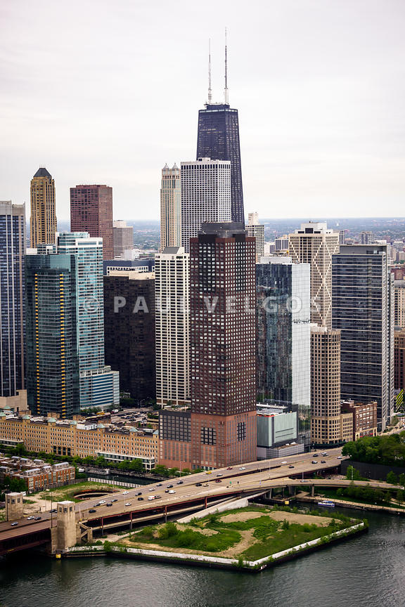 Chicago Aerial View with Hancock Building