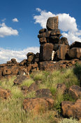 Balancing basalt rocks known as Giant's playground, 5km out of Keetmanshoop, Namibia