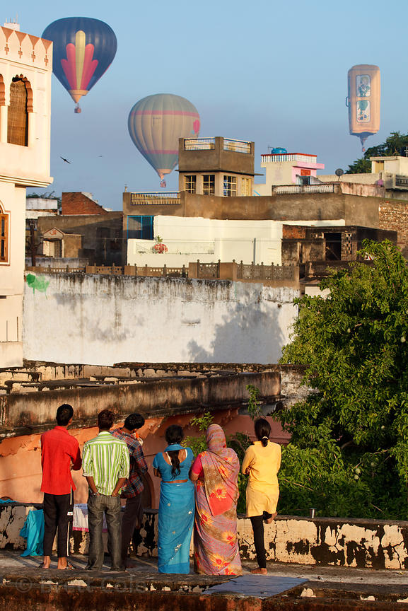 Hot air balloons over the holy city of Pushkar, Rajasthan, India