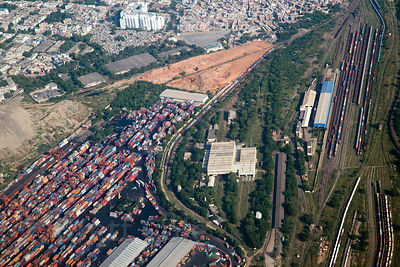 Airplane view of unidentified railway station in Delhi, India