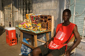 Mozambique, Beira, typical streetstore selling sweets.