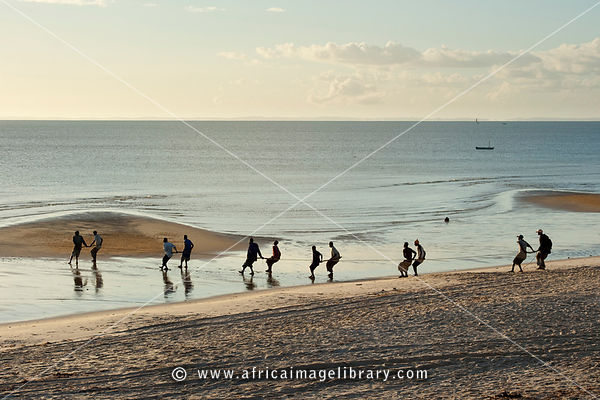 Fishermen pulling in the nets, Inhassoro, Mozambique